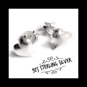 Puffy Heart Studs Solid Sterling Silver 925 NEW